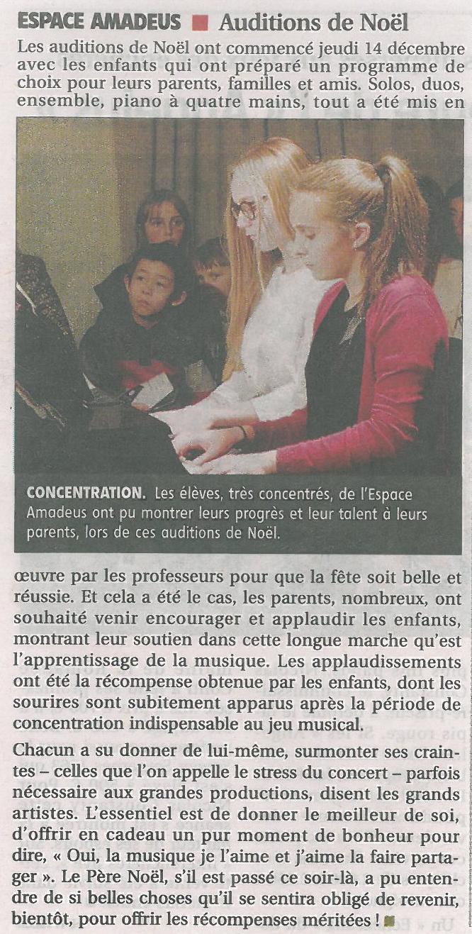 Article de presse paru dans Le Populaire en décembre 2017 sur les auditions de fin d'année de l'Espace Amadeus Musique.