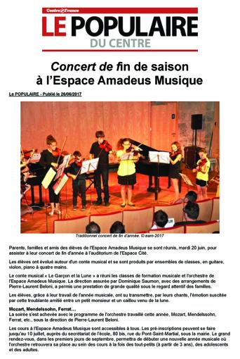 Concert de fin de saison pour l'Espace Amadeus Musique de Limoges.